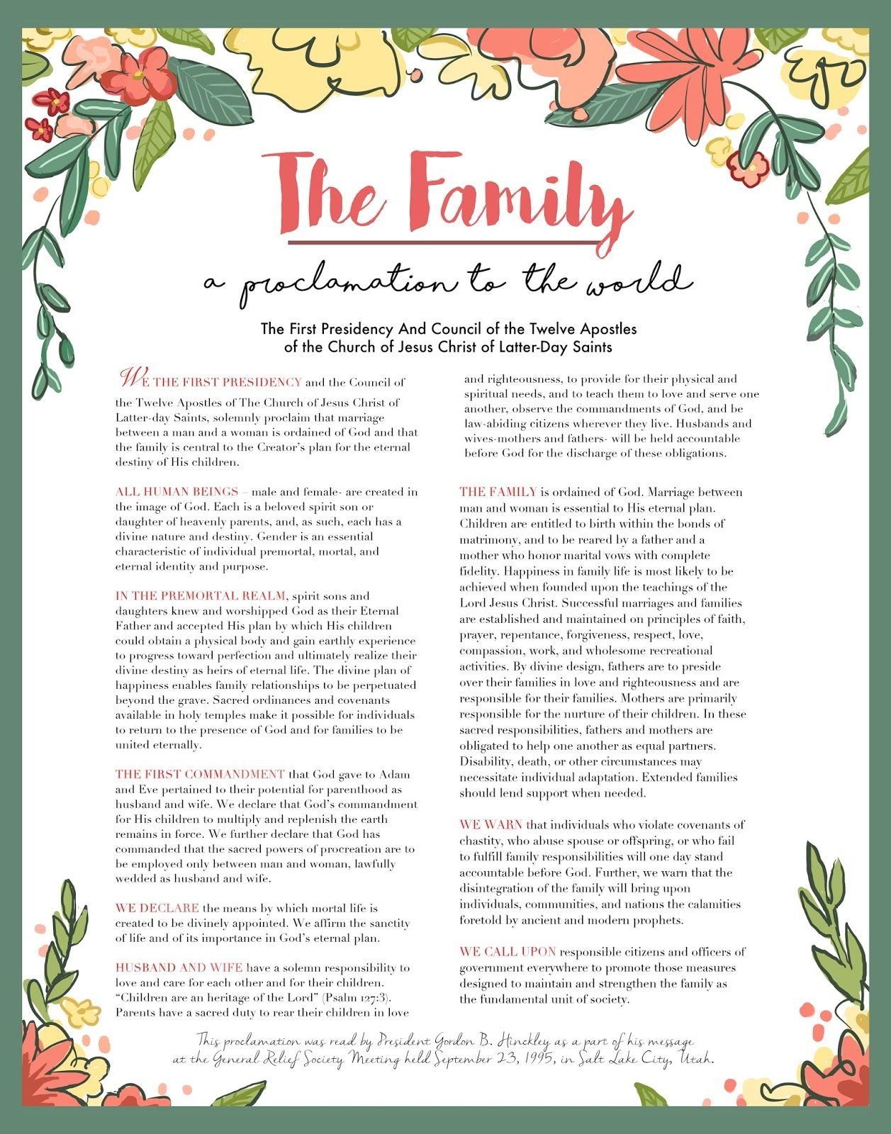 photograph regarding Family Proclamation Printable called Pinterest