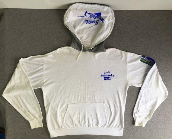 093727058 Seattle Seahawks Shirt 80 s Vintage  Unique Sports Hood Hoodie Sweatshirt  Long Sleeve Tshirt  Rare!