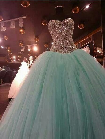 New Beaded Stone Quinceanera Prom Dress Party Pageant Ball Gown ...