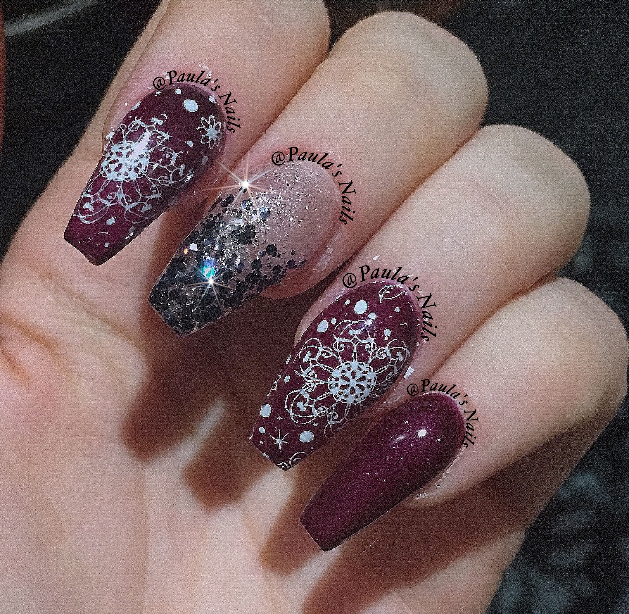 Dark purple red coffin nails with glitter | Nail Art | Pinterest ...