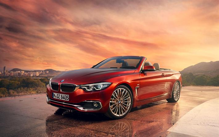 Lataa kuva BMW 4 Cabrio, 2018, Punainen avoauto, Saksan autoja, 4-Sarja, BMW