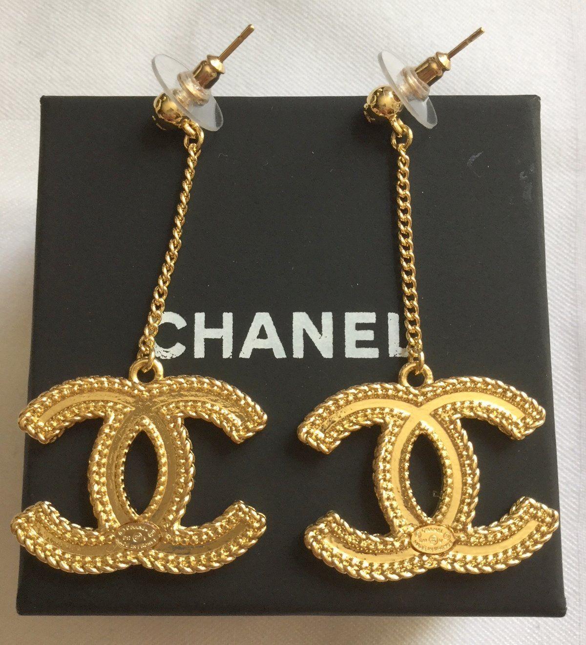 2cf9d4726 CHANEL+Classic+GOLD+CC+Big+Dangle+Chain+Drop+Earrings+HALLMARK+Authentic+NIB
