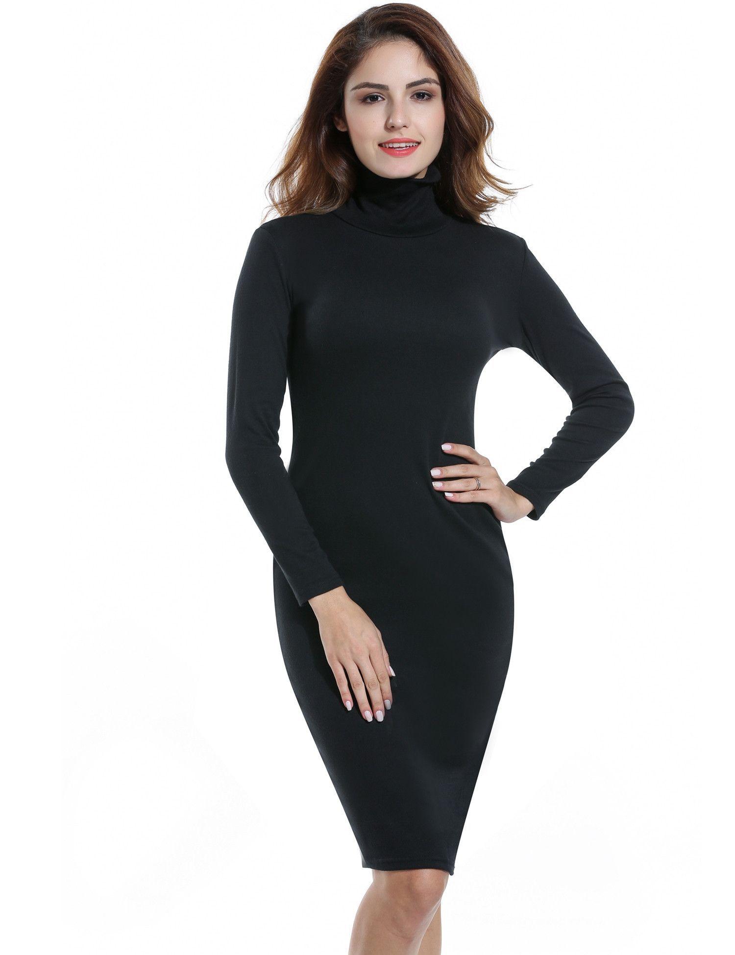 Black turtleneck long sleeve bodyson stretch going out dress wish