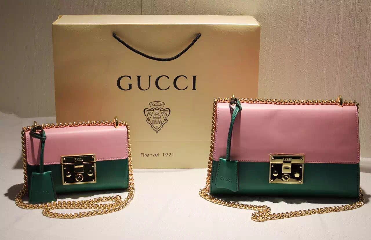 3fdccae58fc4 Gucci 409487 Two-tone Small Padlock Leather Shoulder Bag Pink/Green F/W 2015