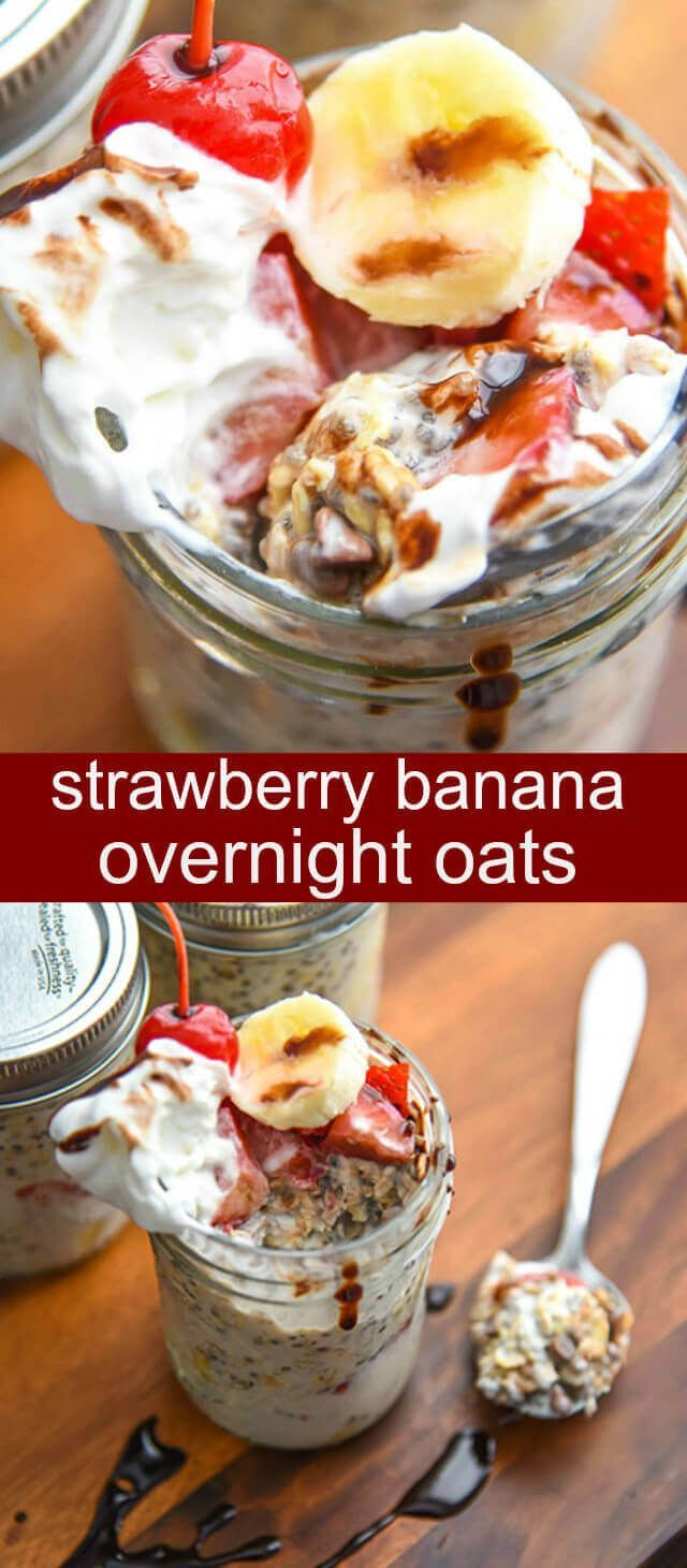 Strawberry Banana Overnight Oats {A Fun No-Fuss Breakfast} overnight oats/ strawberries/ bananas Love breakfast all ready and done for you? What if you could have breakfast that tastes like dessert?! Welcome to Strawberry Banana Overnight Oats! via @taste