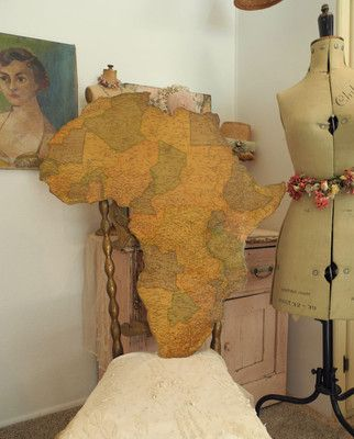 Wondeful Vintage MAP OF AFRICA Mounted on wood Great Wall Decor Piece!