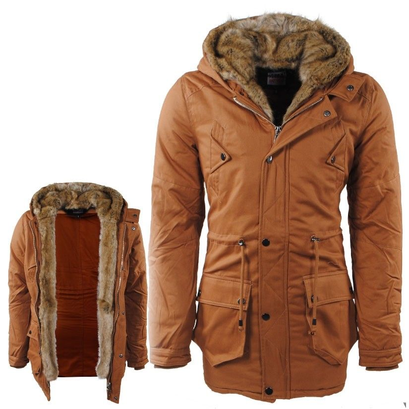 Trendy Winterjas Heren.Paname Brothers Heren Parka Winterjas Met Faux Fur Bont Langs De