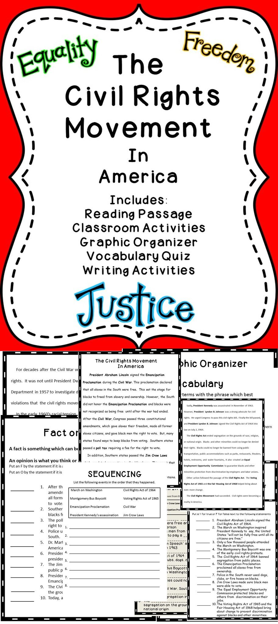 The Civil Rights Movement In America - This is a great civil rights  resource for the elementary classroom. #tpt #c…   Civil rights movement [ 2048 x 912 Pixel ]