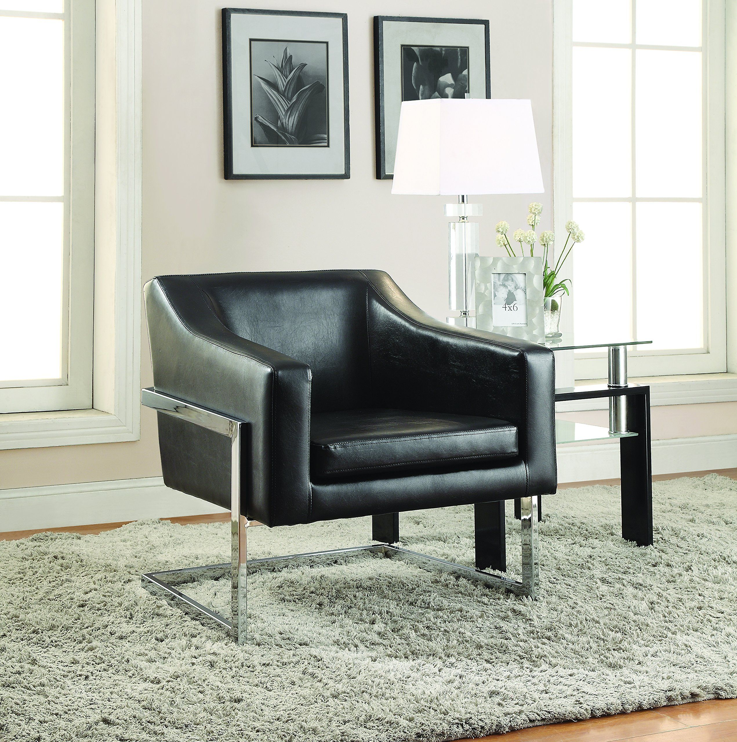 Coaster Contemporary Black Faux Leather Upholstered Accent