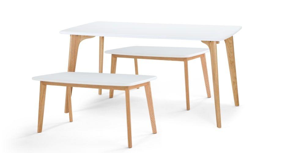 Fjord Ensemble Table Rectangulaire Et Bancs Chene Et Blanc A