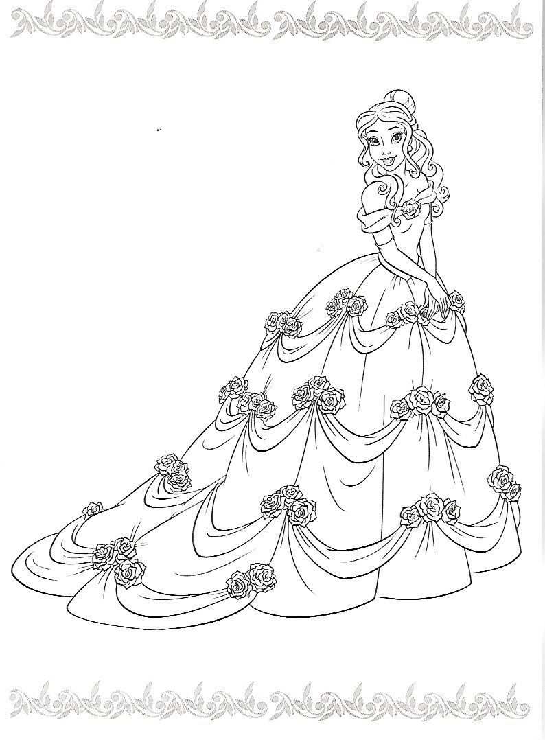 Disney Belle Princess Coloring Pages Cartoons Beast For Kids Animated The