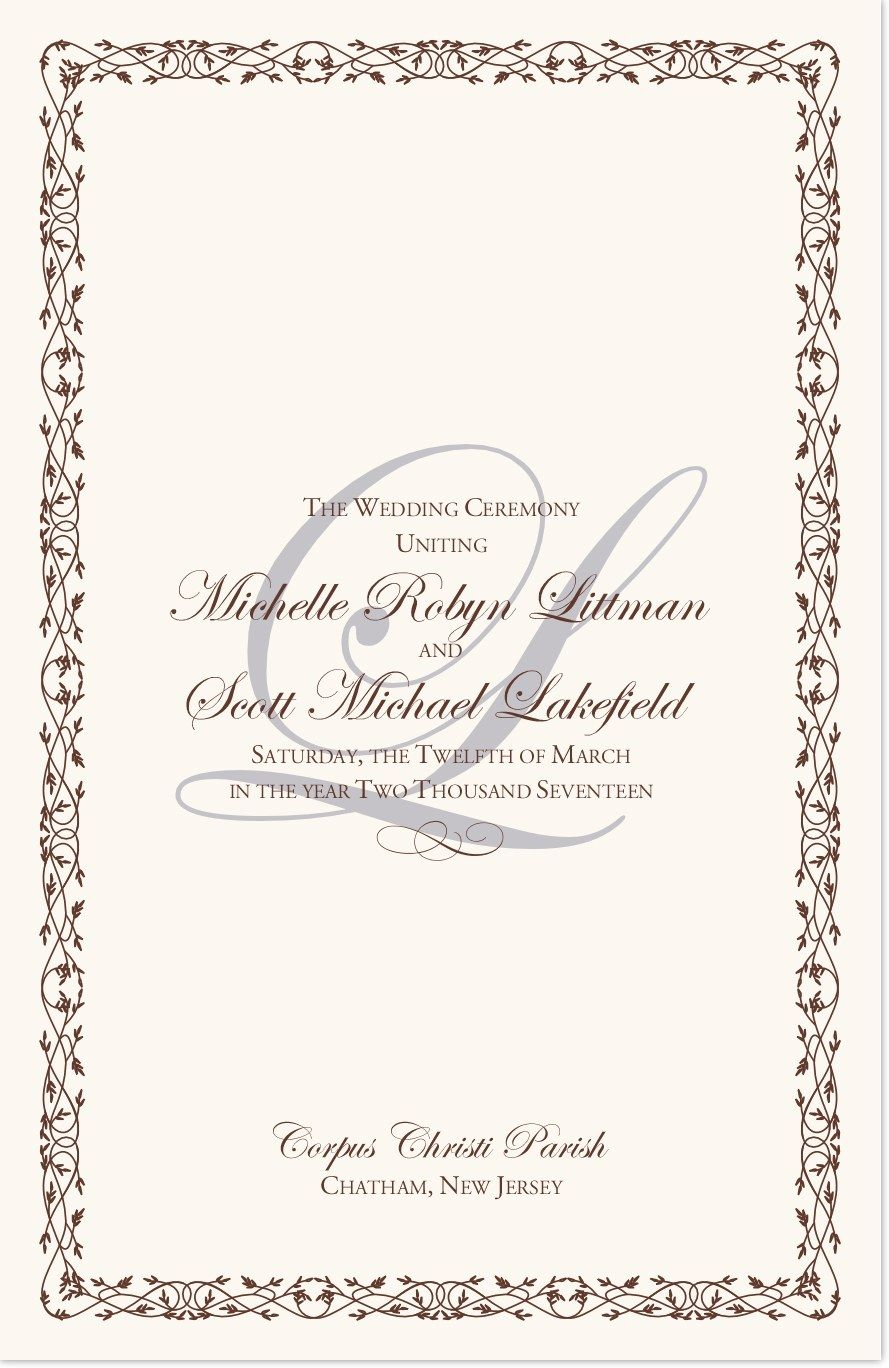 Edwardian watermark wedding processional order pinterest classic wedding ceremony programs with a faint watermark monogram celtic leaf border in your choice of colors and fonts catholic greek orthodox junglespirit Gallery