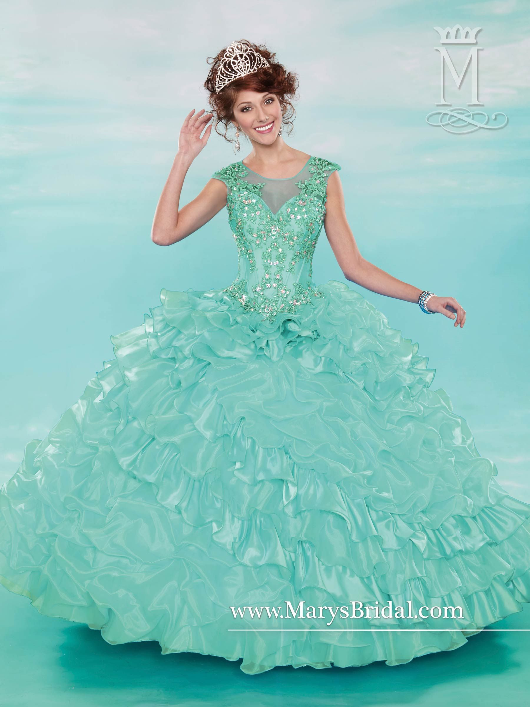 STYLE: 4615 by Mary\'s Bridal Blue Teal Quinceñera dress | Yasmin\'s ...