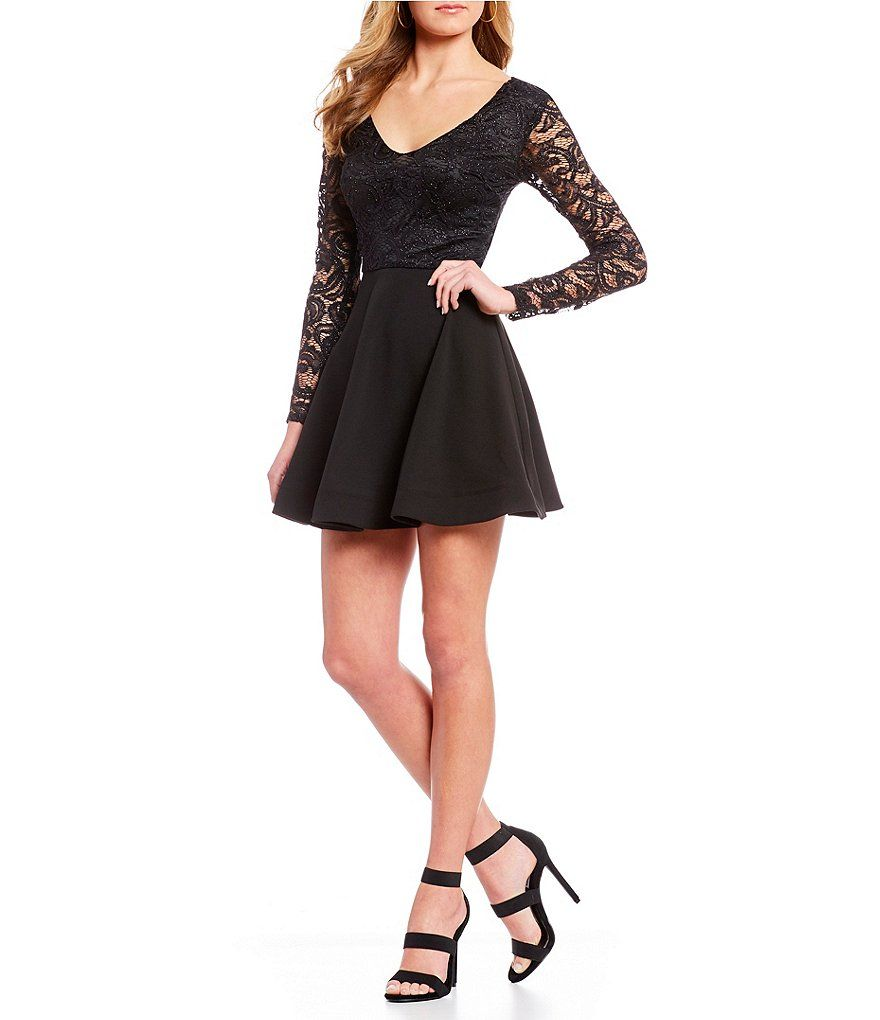 B Darlin Lace Bodice Tie Back Fit And Flare Dress