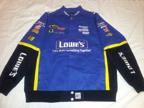 New! Size XL Tall Chase Authentics Blue Lowe's #48 Jimmie Johnson Nascar Racing Jacket by NASCAR. $79.95. This racing jacket is blue in color. All logos are very nicely embroidered on the front, back and sleeves of jacket. Knit wrist bands and waist band. Snap up front. 2 front pockets and 1 inside security pocket.