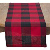Saro 9025.R1672B Birmingham Design Buffalo Plaid Table Runner,Red