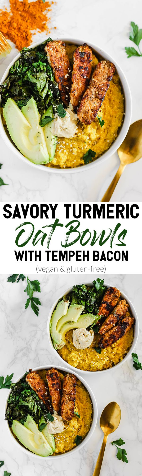 Savory Turmeric Oat Bowls with Tempeh Bacon