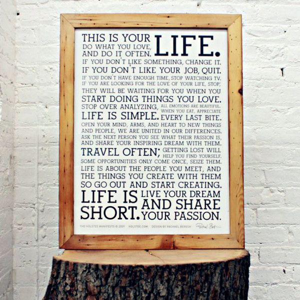 holstee manifesto letterpress poster in a reclaimed wood frame holstee - Wood Poster Frames