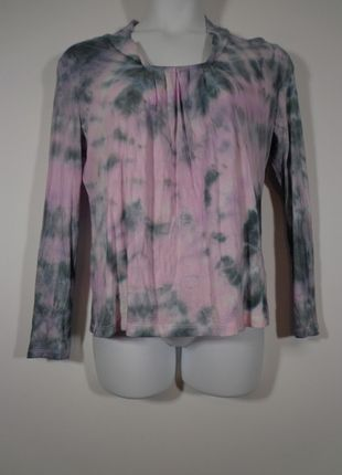 6fce9a0a35c4fc Lavender Pink & Grey Tie Dyed Long Sleeve Blouse Size Large ...