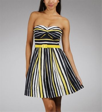 7fbf8f924b Navy Yellow Strapless Stripe Dresses so stinkin cute!