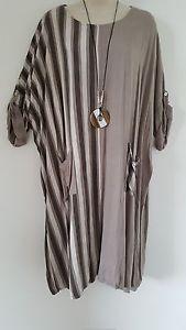Italian-Lagenlook-Quirky-Long-Top-Dress-mocha-Size-26-28-30-32-34-Bust-60-034