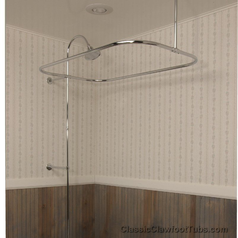 This Clawfoot Tub Rectangle Shower Enclosure With Riser U0026 Braces / No Faucet  Is A Beautiful Addition To Any Bathroom.