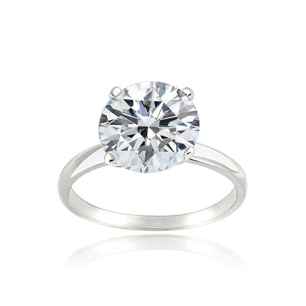 Platinum Flashed Silver Over Sterling Silver 100 Facets Cubic Zirconia Solitaire Ring 3 Cttw Cubic Zirconia Rings Silver Engagement Rings Rings Cool