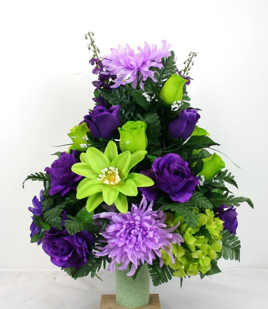 Fathers day cemetery vase flower arrangement featuring purple fathers day cemetery vase flower arrangement featuring purple roses and spider crazyboutdeco reviewsmspy