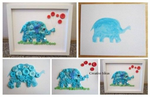 Via how to make cute button elephant wall decoration step for Cute homemade crafts for your room