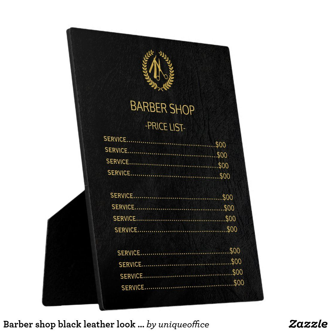 Luxury exclusive price list for a barber hairstylist shop in faux gold on a solid black classy elegant leather look background. Please note that the leather look is printed.