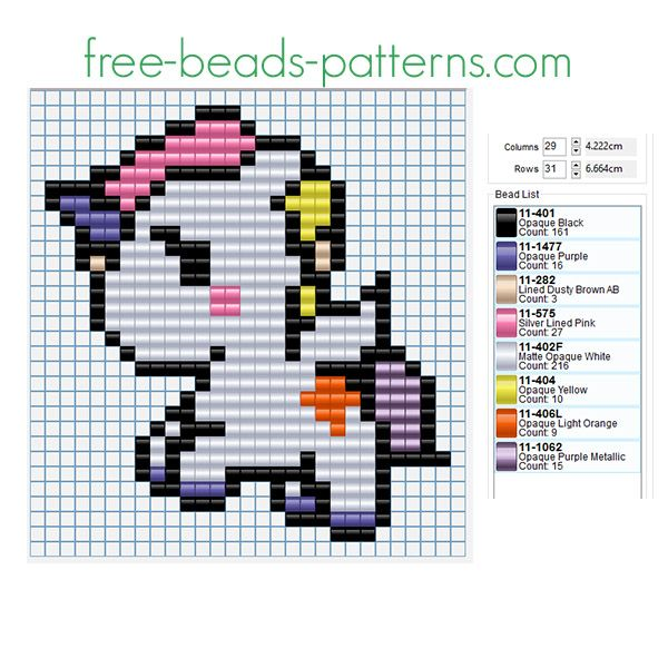 Colored Cute Unicorn Free Perler Beads Fusion Beads Pattern For Custom Free Perler Bead Patterns