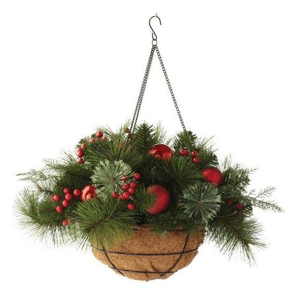 Martha Stewart Living Festive Cedar And Pine Hanging Basket 49 Liked O Christmas Hanging Baskets Holiday Decor Christmas Christmas Planters Diy