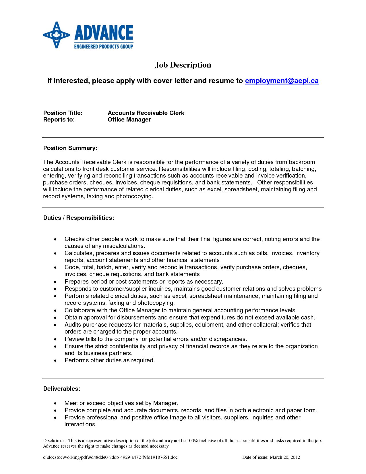 resume example writing samples accounts receivable and | Home Design ...