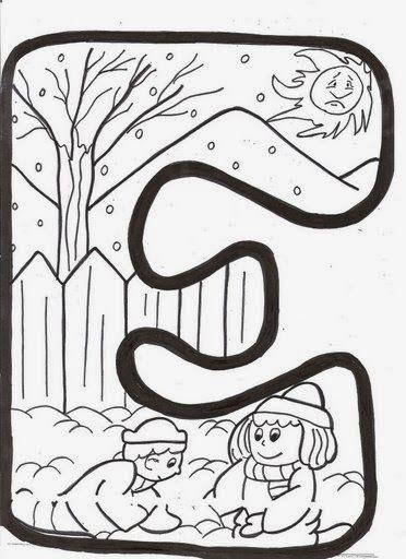 BAÚL DE NAVIDAD Letras infantiles de invierno para colorear y - navidad para colorear