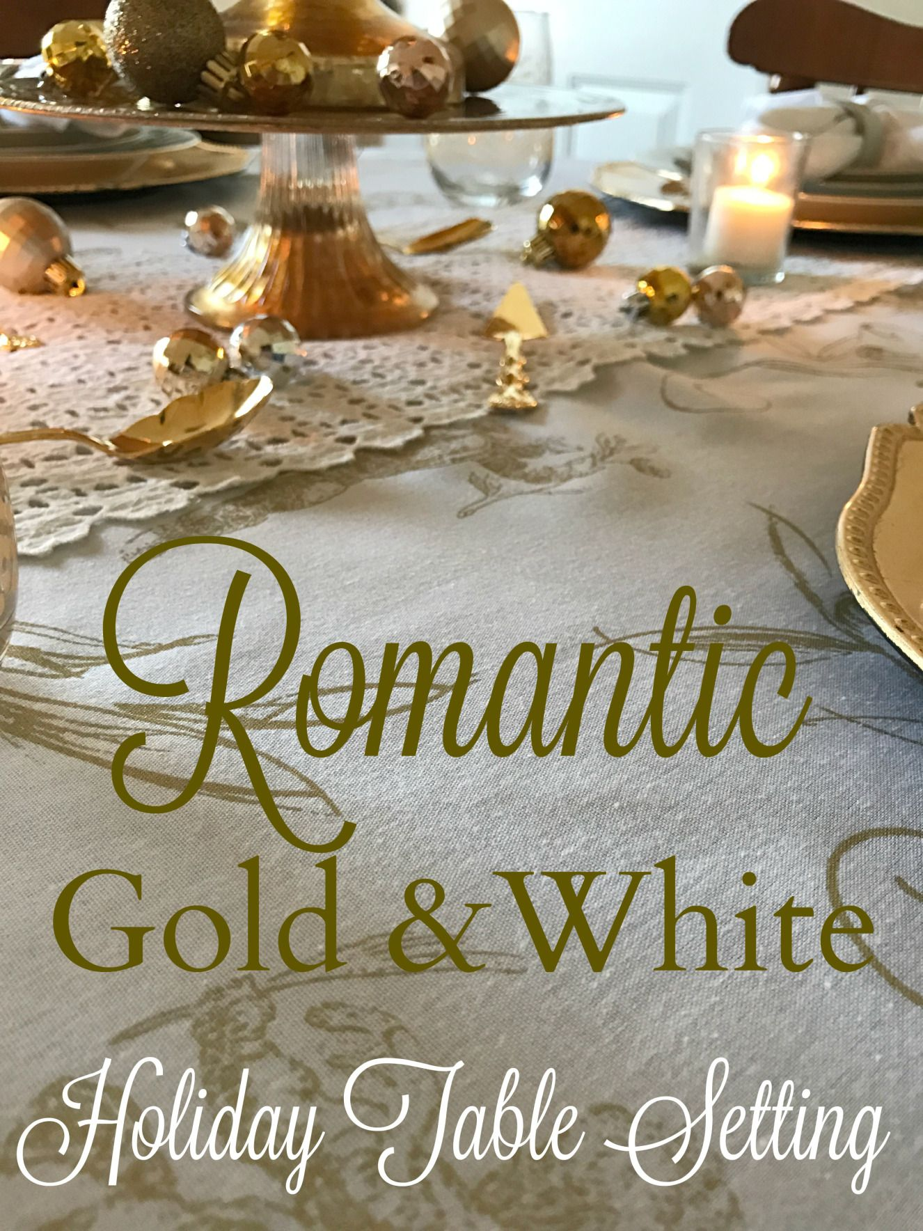 Romantic Gold and White Table Setting - perfect for Christmas or New Year's Eve!