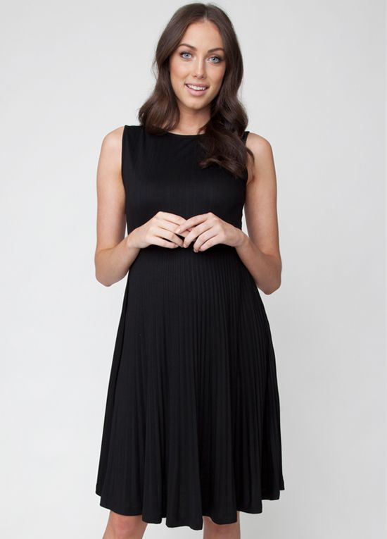04bdea3628e7 Queen Bee Knife Pleat Maternity Cocktail Dress in Black by Ripe Maternity