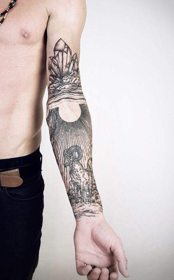 Linework landscape tattoos Lisa Orth tattoos Landscape