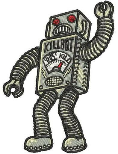 """4/"""" Robby Robot Forbidden Planet Die Cut Embroidered Patch Iron On Quality"""