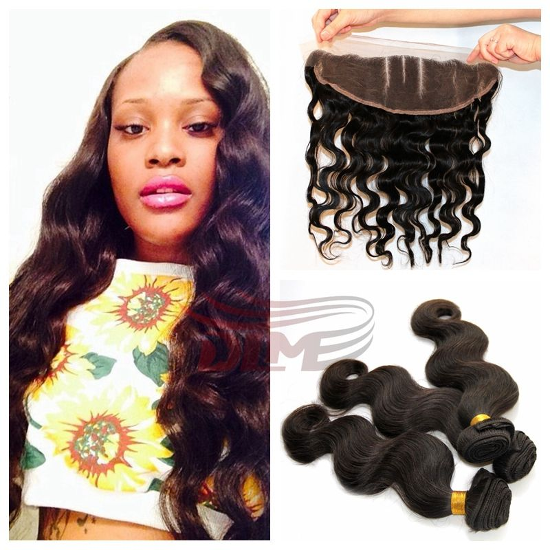 7a top quality body wave Brazilian virgin hair bundles with lace frontal 13x4 human hair lace frontal closure with bundles