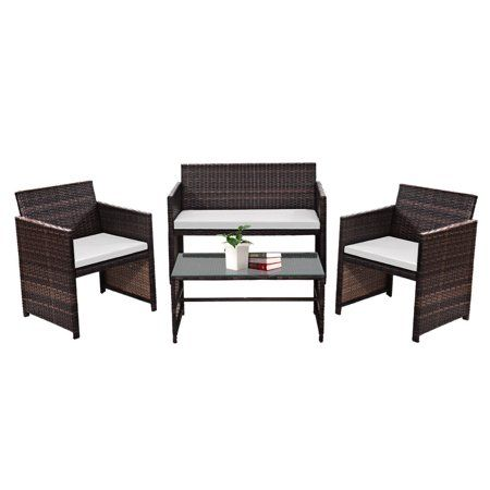 Gymax 4 PC Rattan Patio Furniture Set Garden Lawn Sofa Cushioned Seat Wicker Sofa - Walmart.com