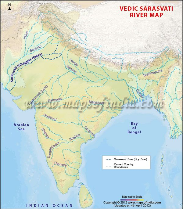 This map depicts the Sarasvati River which was present in Rig