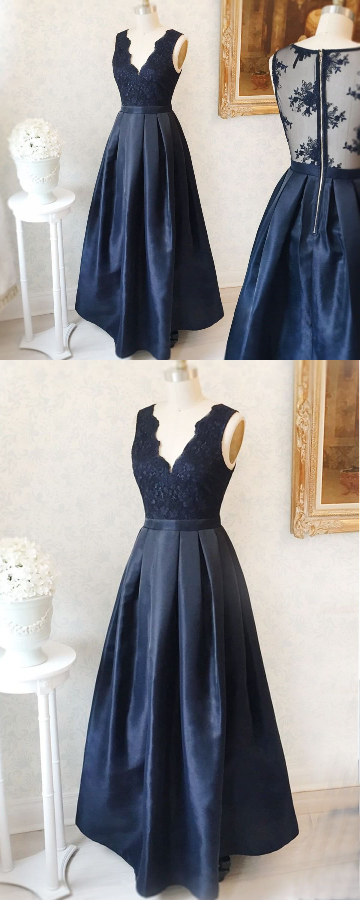 Navy blue see through back long v neck lace part dresses evening