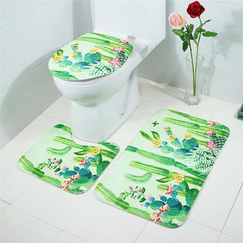 3pcs Set Bathroom Mat Set Embossing Flannel Floor Rugs Cushion