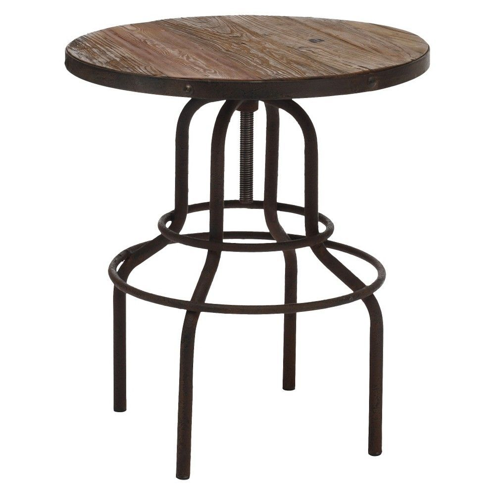 Classic vintage inspired elmwood and antiqued metal pub table distressed natural zm home