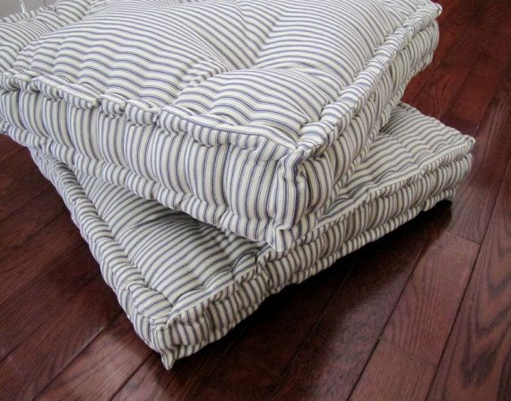 Ticking Floor Pillow, Tufted Floor Cushion with French Mattress ...