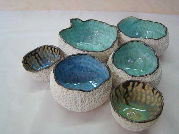 Sea Urchin Pot Blue Textured Ceramic Pot Gold And Aqua