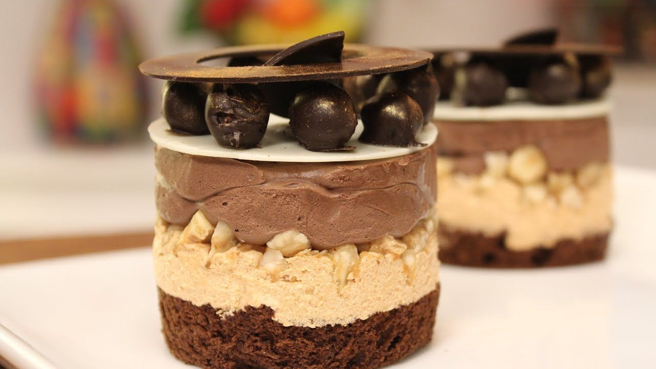 Chocolate hazelnut and caramel mousse sanjeev kapoor