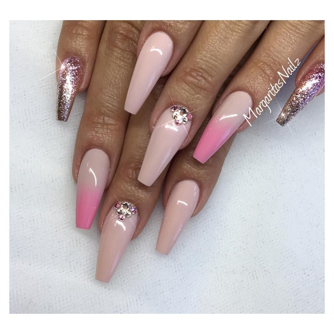Nude coffin nails pink ombré nail art fall fashion 2016 ...