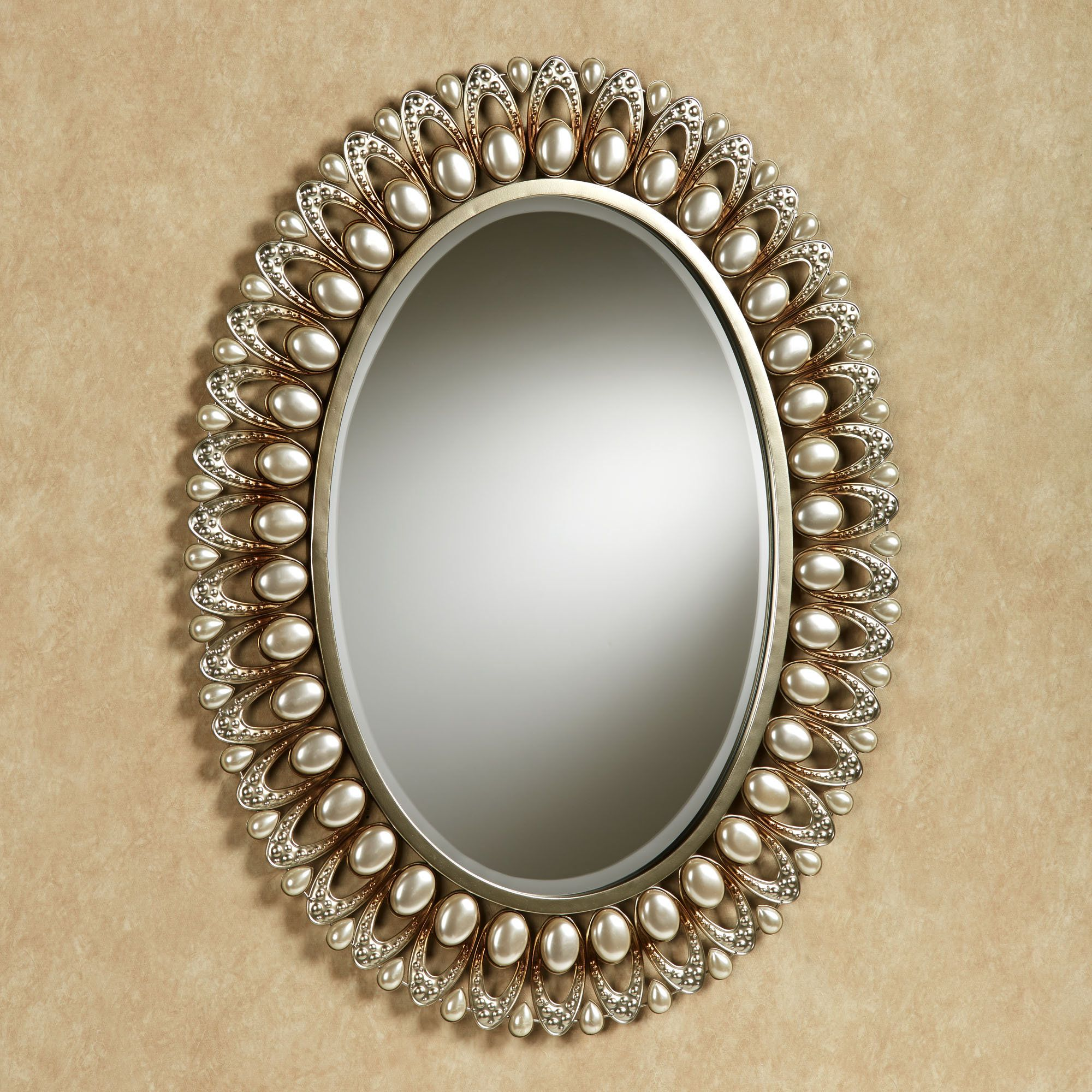 Julietta wall mirror champagne gold dream home mirror mirror the julietta pearl oval wall mirror brings stylish sophistication to the room in which it is displayed beveled wall mirror has openwork ovals and large amipublicfo Choice Image