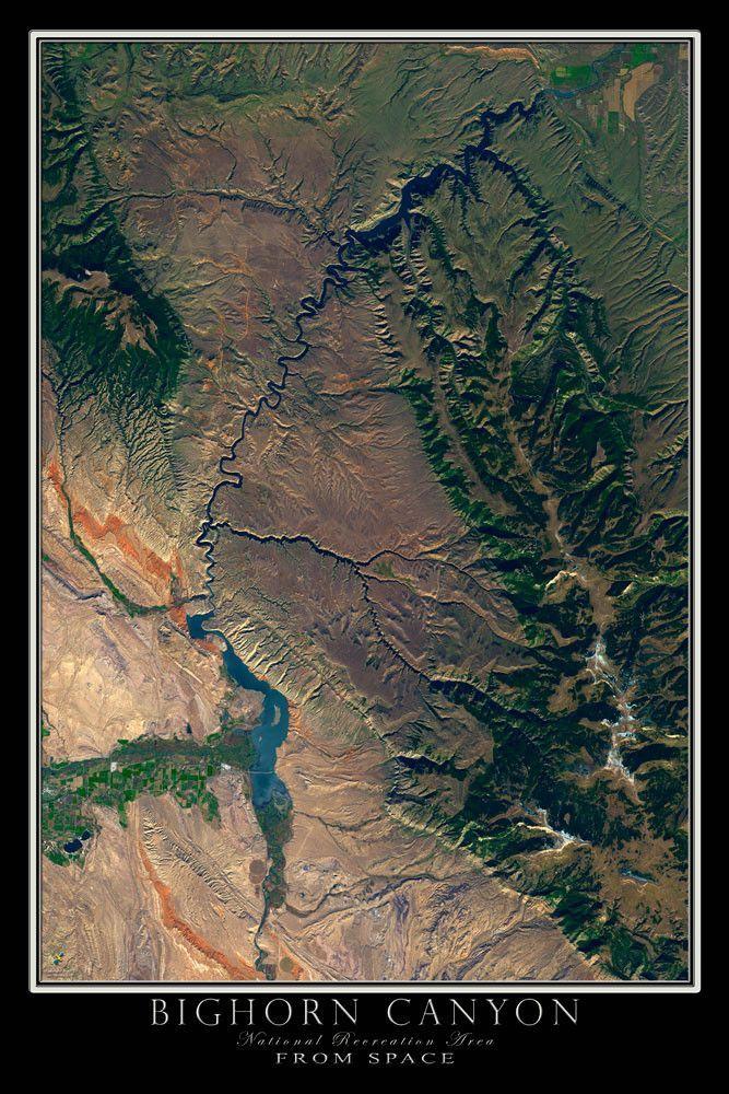 Bighorn Canyon National Park MontanaWyoming Satellite Poster Map - World map online satellite 2015